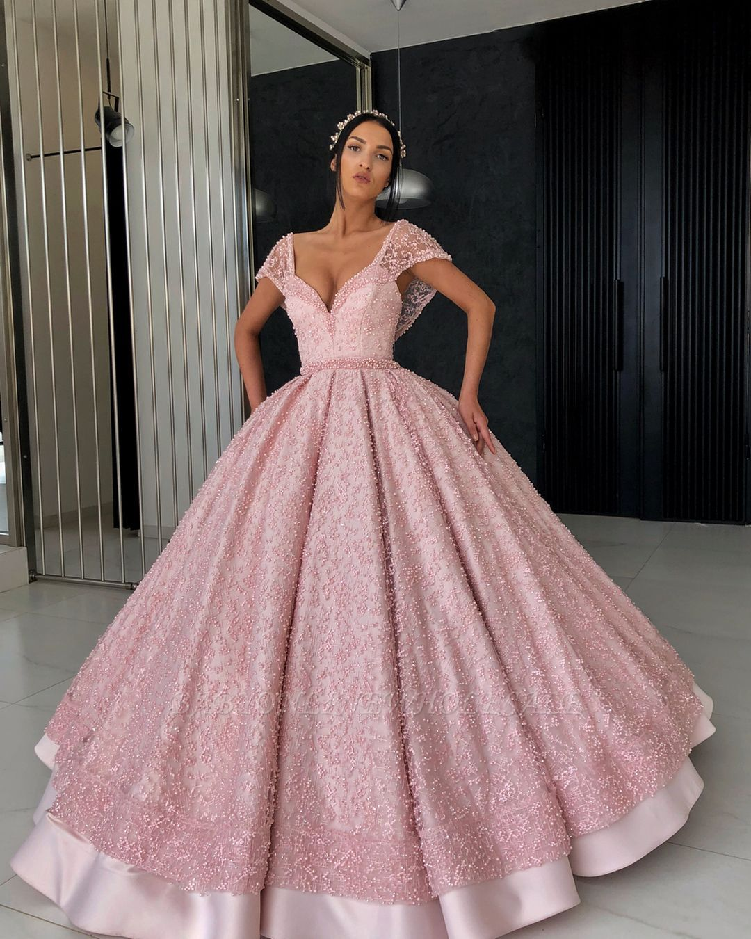 Elegante Abendkleider Spitze  Abendkleid lang Rosa Günstig