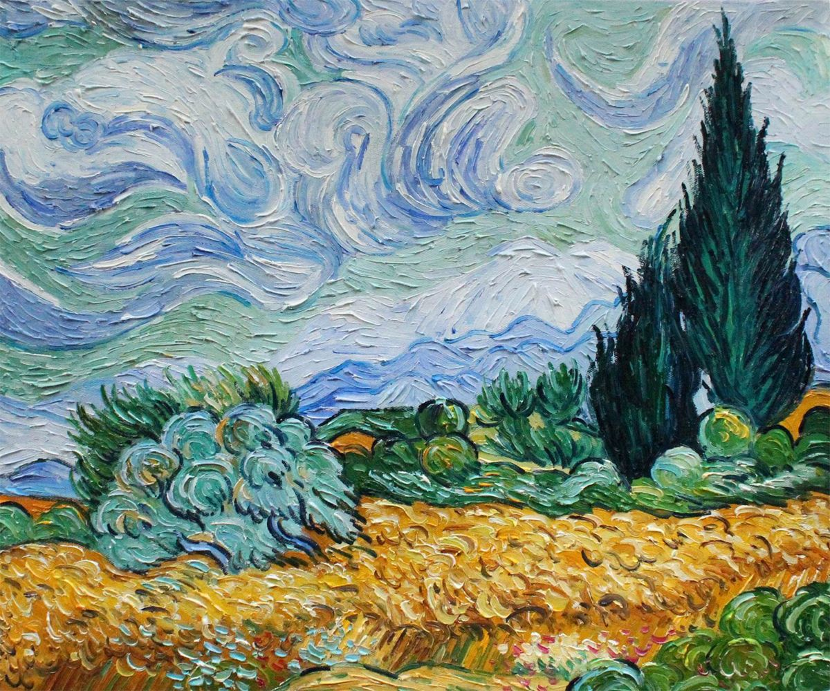an analysis of wheat field and cypress trees by vincent van gogh These 10 favorite paintings by vincent van gogh painting near duplicates of sunflowers or cypress trees vincent van gogh: wheat field with cypresses at.