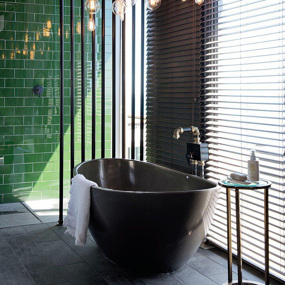 carrelage vert forêt salle de bains | Salle de bain verte ...