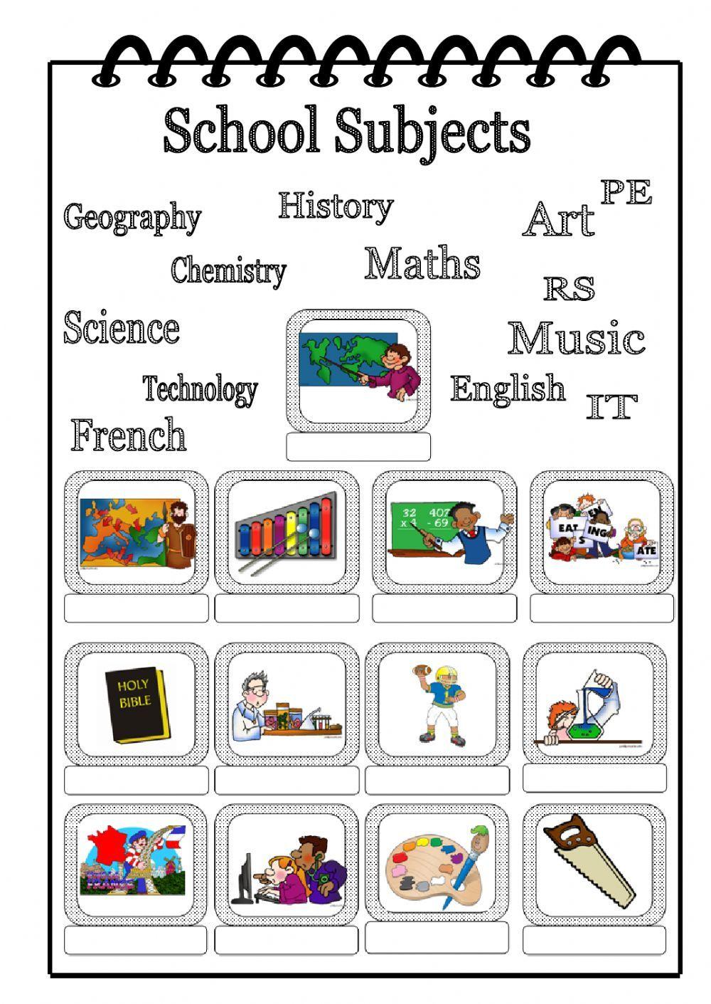 School subjects - Interactive worksheet | School Subjects ESL ...