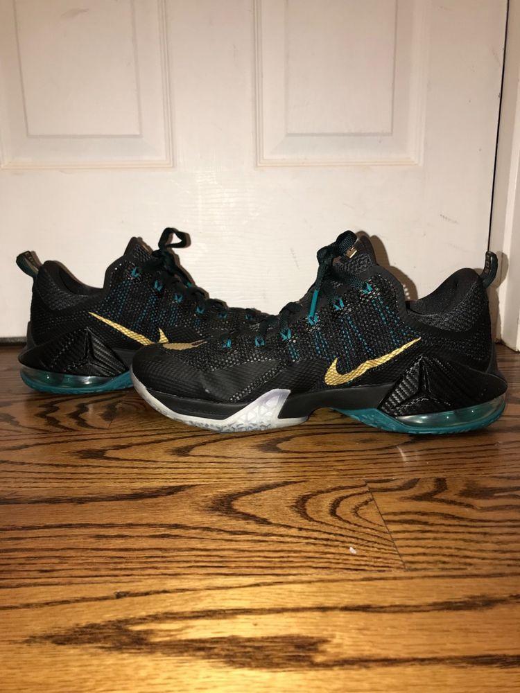 965b28dc3acec Nike LeBron 12 XII Low SVSM Carbon Fiber 724557-070 Black Gold Green ...