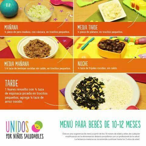 Menu Bebe 10 12 Meses Recetas De Comida Para Bebes Comida Para Bebe Comida Para Bebes