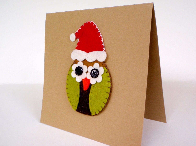 Christmas Felt Owl Card 900 Via Etsy Boe Narodzenie