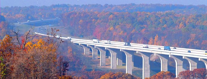Ohio turnpike over the Cuyahoga Valley Metroparks  Gorgeous