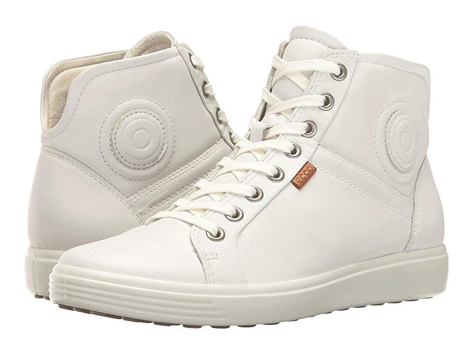 bf7cf6cfe69eb8 ECCO Soft 7 High Top (White White) Women s Lace up casual Shoes ...
