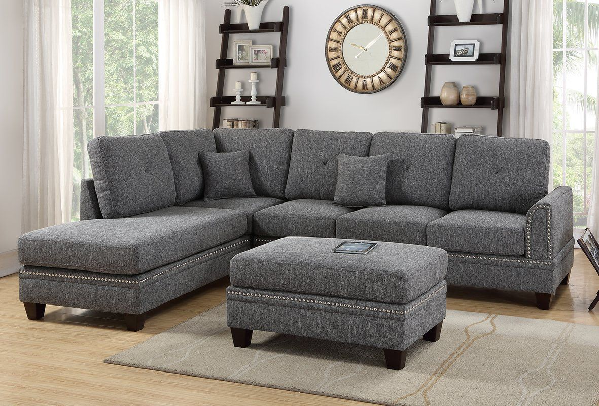 Joseph Reversible Sectional With Images Fabric Sectional Sofas