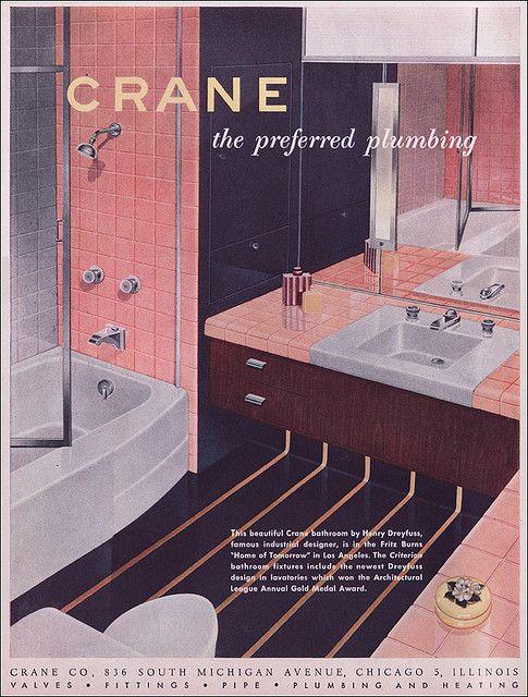 1951 Crane Pink And Navy Bathroom Navy Bathroom Classic Bathroom Retro Bathrooms