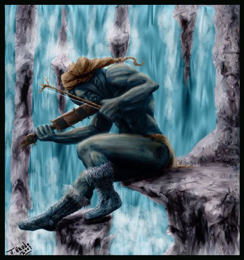 Fossegrim- Scandinavian myth: a male water spirit who played