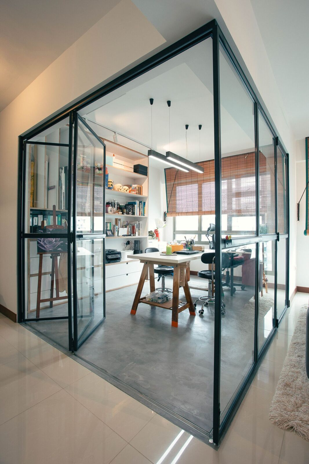 Hdb Study Room Design Ideas: Glass Foldable Door For Study Room