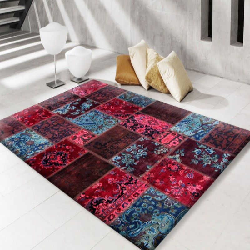 Modern Persian Rugs In Patchwork Red And Blue