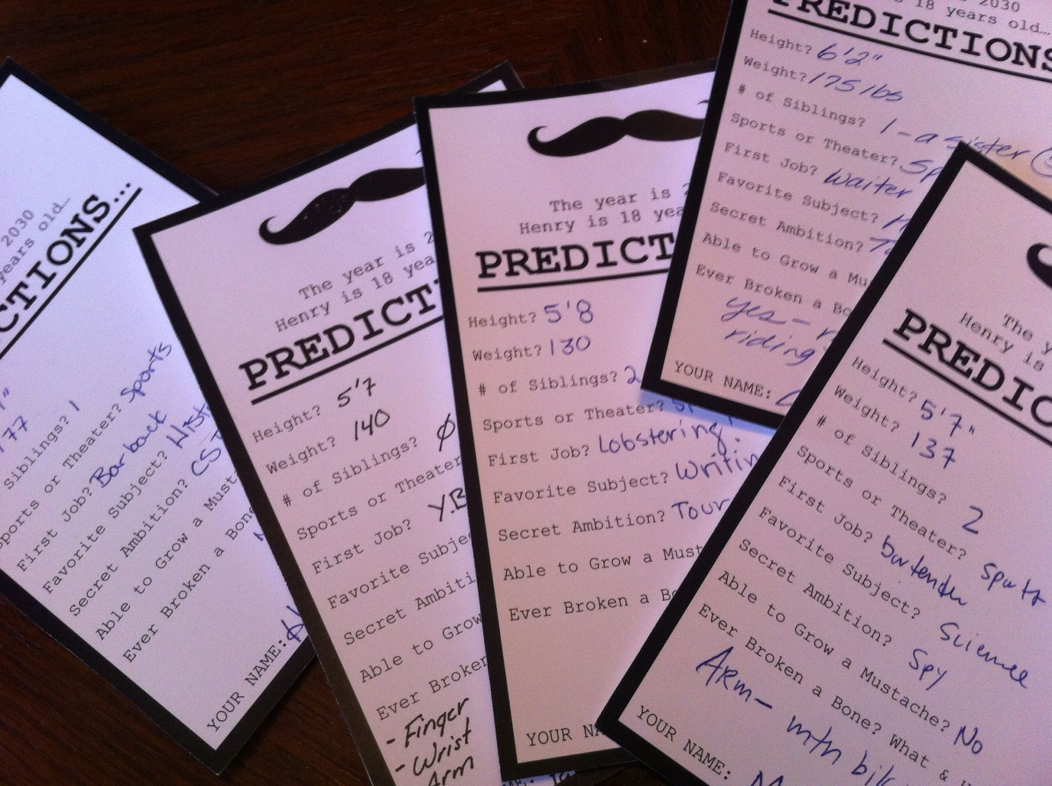 Prediction Cards To Fill Out At First Birthday