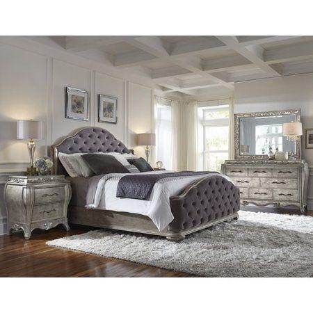 Pulaski Rhianna 4 Piece King Bedroom Setrhianna Kb Ns Dresser Mirror Upholstered Bedroom Set King Size Bedroom Sets Bedroom Set