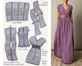 Robe facile à faire, C'est juste 4 rectangles -   17 DIY Clothes Projects maxi dresses ideas