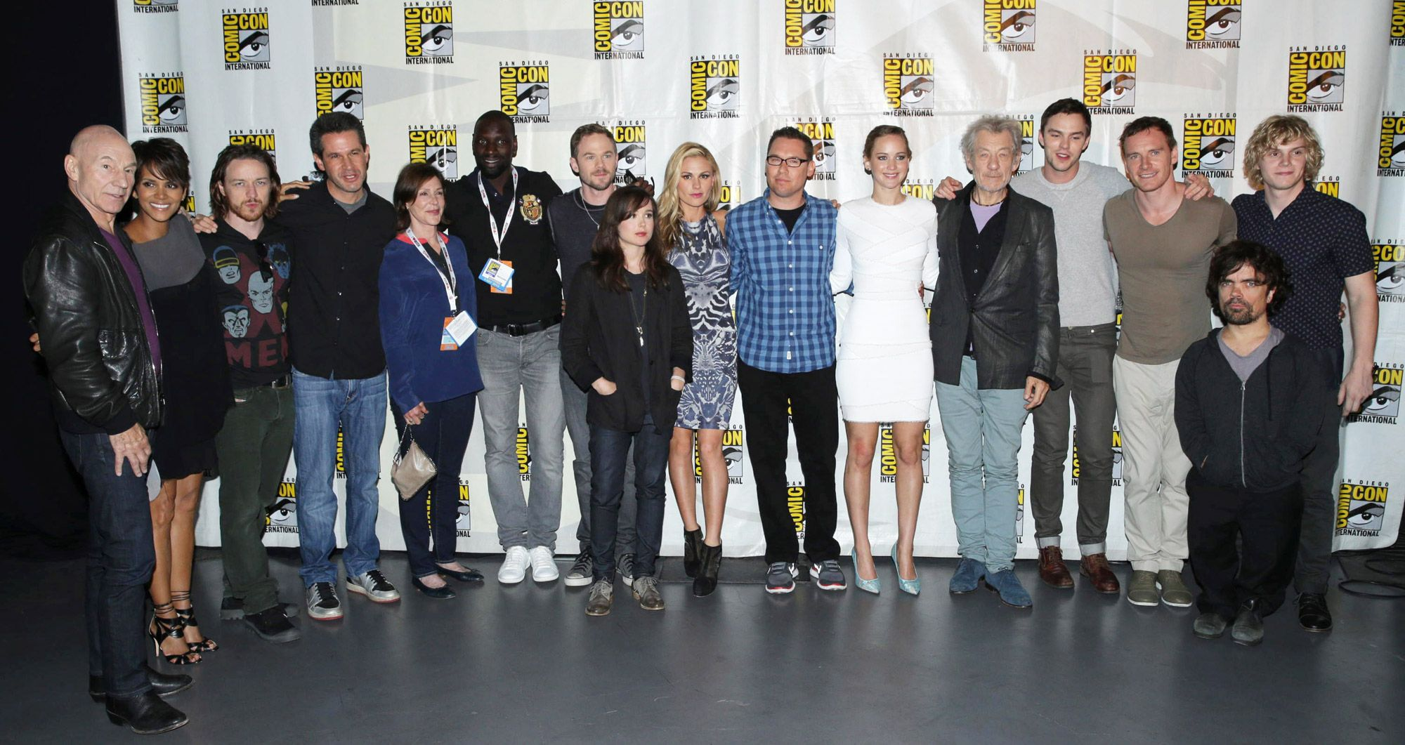 X-Men cast at SDCC 2013. From Left to Right, Patrick Stewart, Halle Berry, James McAvoy, Simon Kinberg, Lauren Shuler Donner, Omar Sy, Shawn Ashmore, Ellen Page, Anna Paquin, Bryan Singer, Jennifer Lawrence, Ian McKellen, Nicholas Hoult, Michael Fassbender, Peter Dinklage and Evan Peters.