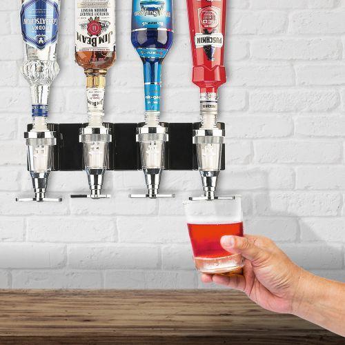 Der 4er Bar Butler für die Wand zum Montieren ist ein Flaschenhalter und Dosierer, der den Trinkgenuss jeder Party aufwertet und professionelle Bar-Atmosphäre schafft!