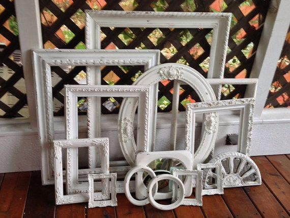 Shabby chic gallery open vintage frames, sale, mirrors set of 14, white