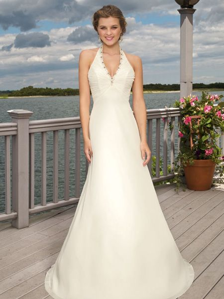 Curvy halter v neck beads working high wasitline chiffon for Wedding dresses for short curvy women