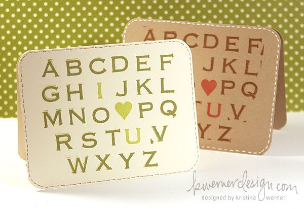 I Heart You card made with alphabet stamp. Blog posting includes video.