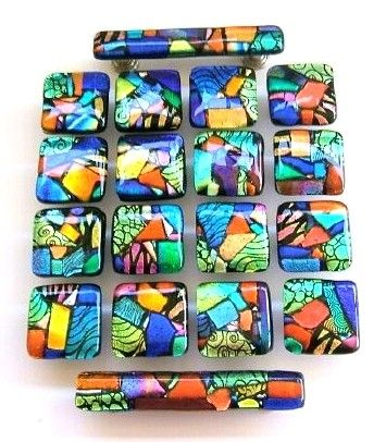 Glass Mosaic Drawer Pulls Or Handles, Stained Glass Kitchen Cabinet Knobs
