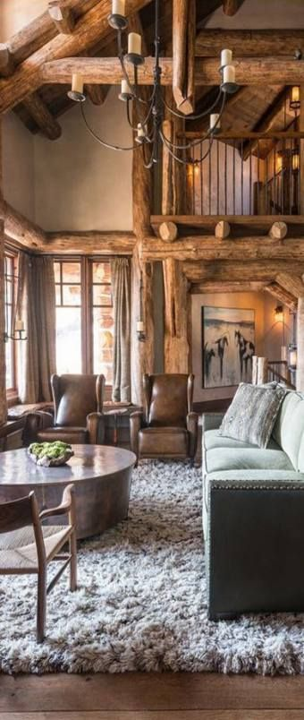 44 ideas rustic living room furniture log cabins spaces