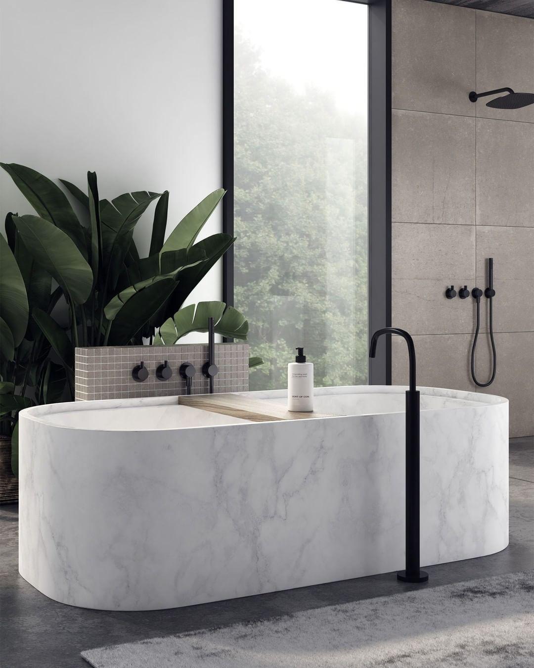 """Photo of COCOON-Bad-Designmarke auf Instagram: """"Ein weiterer Eindruck der von Studio Piet Boon für die Designermarke COCOON entworfenen Badewanne aus massivem Marmor ? Diese freistehende Badewanne wird…"""""""