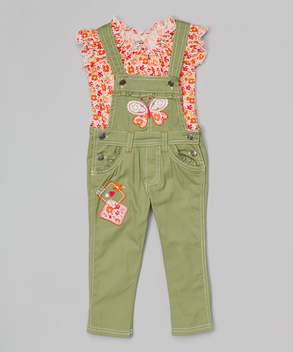 Pink Floral Top & Green Butterfly Overalls - Toddler & Girls