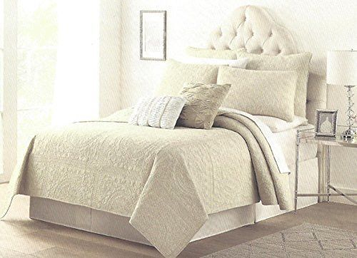 40Piece Tahari Home Rome Solid Oatmeal Damask Pintuck Quilt Sham Delectable Tahari Home Decorative Pillows