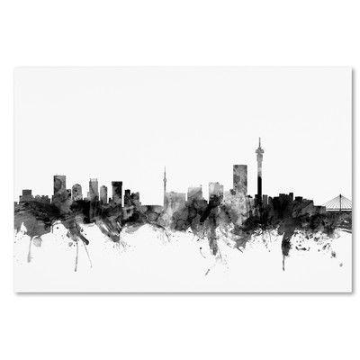 "Mercury Row Johannesburg Skyline Graphic Art on Wrapped Canvas Size: 22"" H x 32"" W x 2"" D"