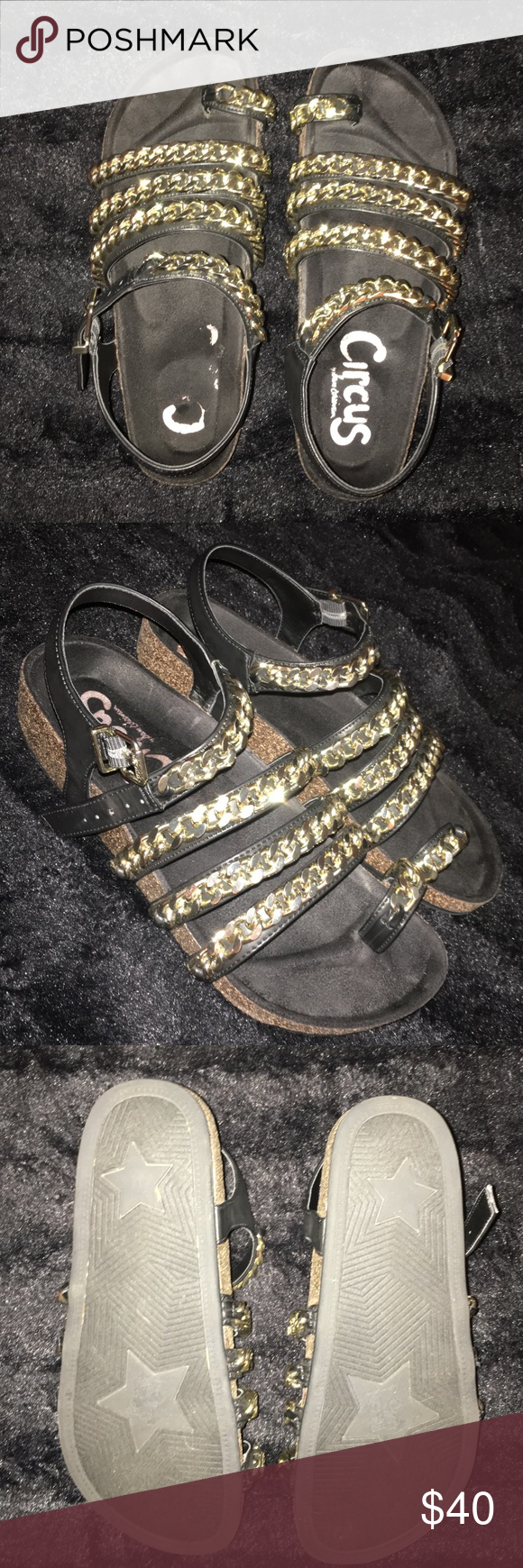 💥WEEKEND SALE💥 Sam Edelman Sandals 💥WEEKEND SALE💥 Circus by Sam Edelman. Kind of a Birkenstock style but with a little bling Size 6. I am normally a 6.5 and these fit me just fine. Did not feel too tight or rub my foot/ankle. Worn a handful of times. Obvious wear on the insole of one sandal, but other than that these are good as new! =) *Weekend Sale price is FIRM. Circus by Sam Edelman Shoes Sandals
