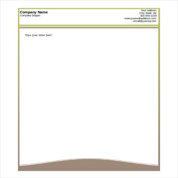 Company Letterhead Format In Word Format Free Letterhead