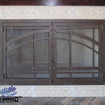 Custom Wrought Iron Fireplace Screen Door Yelp Pintu Pinterest