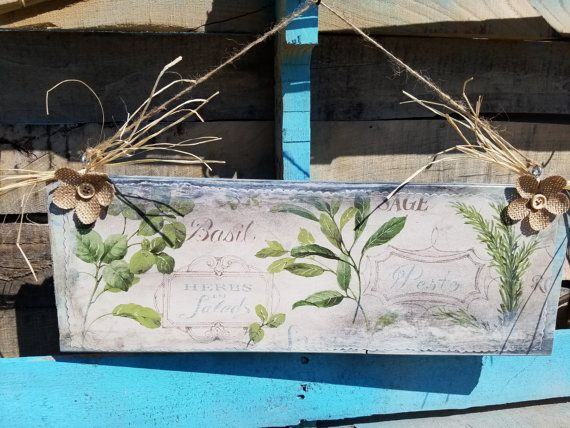 Herb sign/wooden signs/ sage sign/ Basil sign by ForeverChains