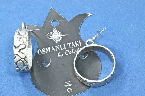 925 Silver Plated Hammered Hoop Circle Dangle Earrings Osmanli Taki by Celali
