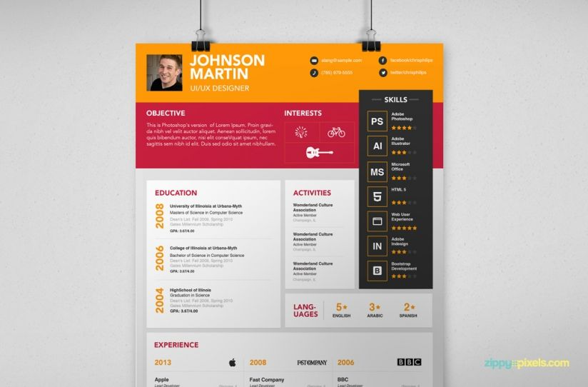 Simple Psd Resume  Cover Letter Template In  Colors  Resume