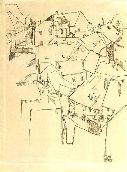 Egon Schiele. Quarter in Krumau (1914)
