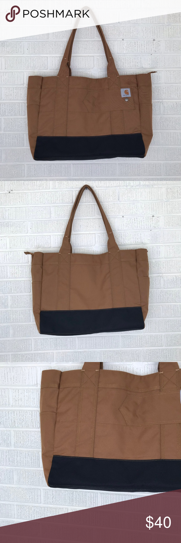 Carhartt Women's Legacy East West Tote Bag Brown Carhartt Women's Legacy East West Tote Bag Brown  - Carhartt  - Women's Legacy East West Tote Bag  - Carhartt Brown - Side Outer Pockets - Zippered Top - 3 open side interior pockets - Side pocket with hook and loop closure  - Wide shoulder tote for carrying personal items - Constructed of heavy-duty 600D Poly - Treated with Rain Defender™ Durable Water Repellant - Duravax™ abrasion resistant base - EUC, Excellent used condition Carhartt Bags #carharttwomen