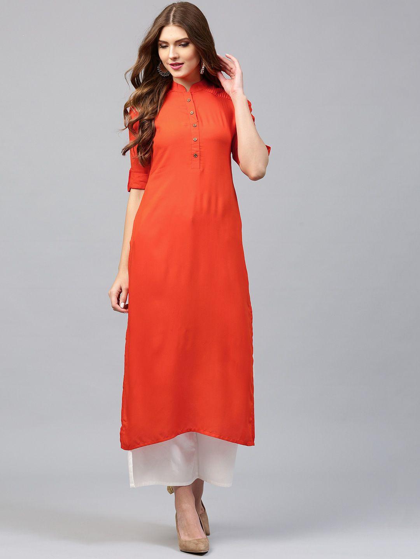 c586200ac69 Libas Women Orange Solid Straight Kurta