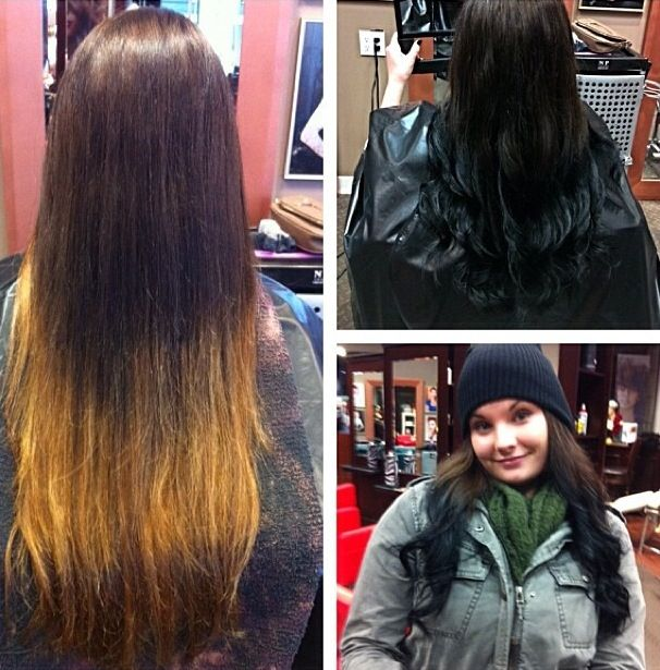 Before and after of a caramel ombre gone wrong and the ...