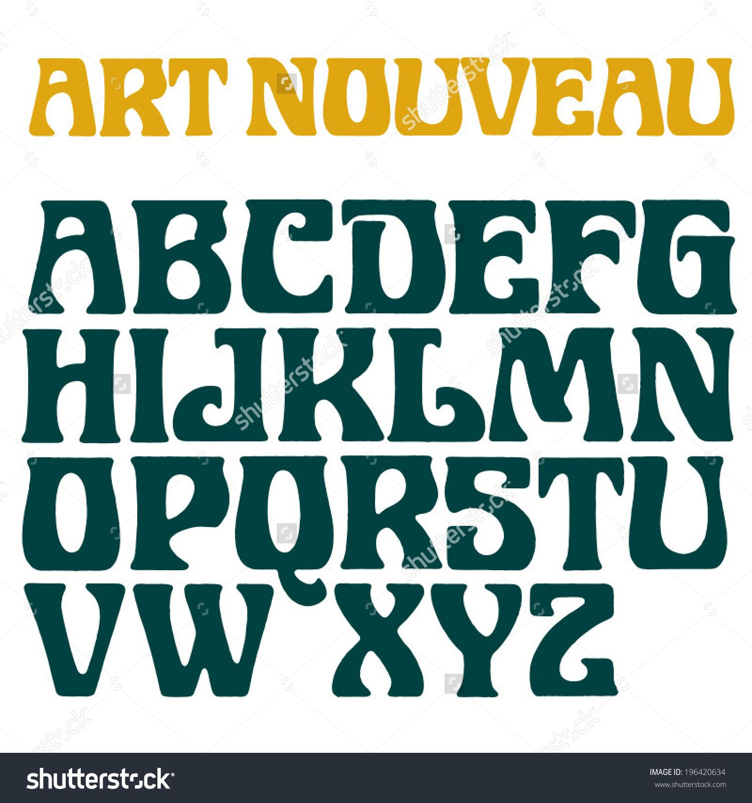 Art Nouveau Font Decorative Vector Type Rough Printed