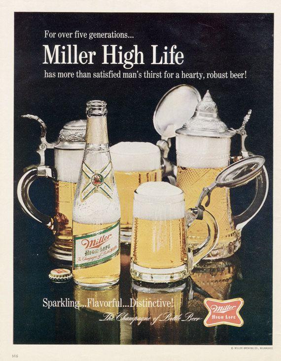 Vintage busch beer promo t shirt official anheuser busch budweiser 1967 miller high life beer ad vintage advertisement print retro bar man cave aloadofball Choice Image