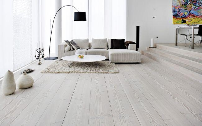 weiße holzböden wohnzimmer skandinavischer stil graue möbel ...