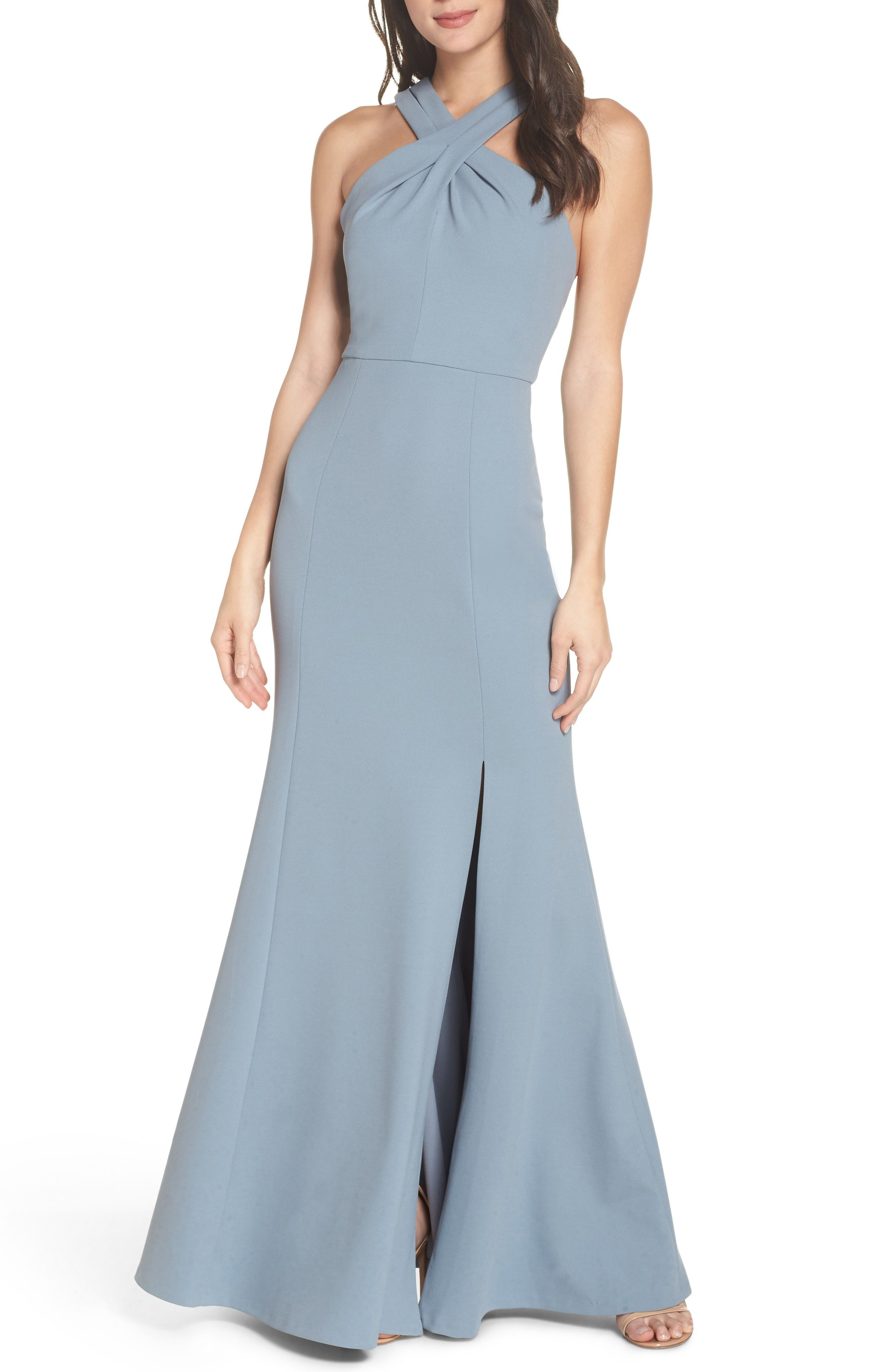 aba0f840a4 Mayan blue Jenny Yoo bridesmaid dress - Kayleigh Cross Front Crepe Knit Gown  -  ad  jennyyoo  bridesmaids  bluewedding  bluedress