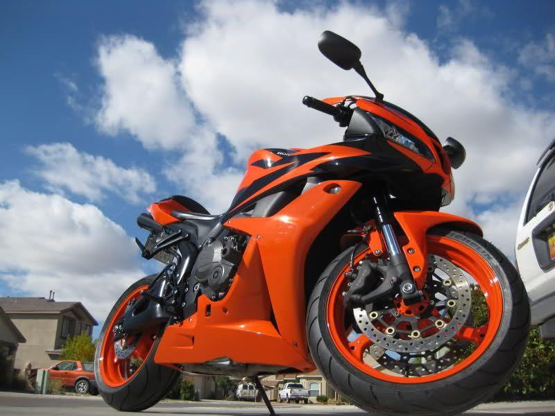 2008 Honda CBR600RR (Pearl Orange) -- Powder coat the rims ...