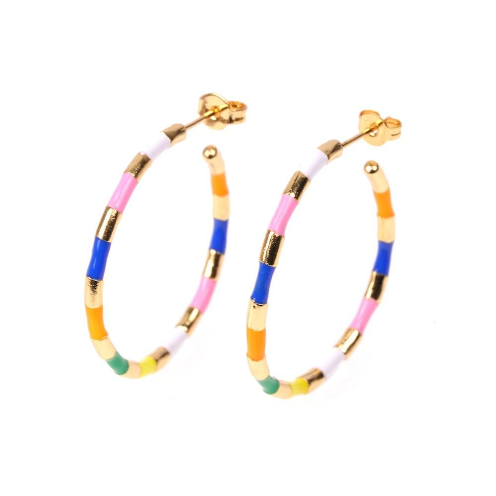 Fun and stylish. Make a colourful statement in these vibrant hoops.