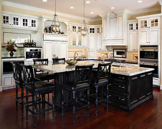 Black kitchen island on pinterest - How to design a kitchen layout with island ...