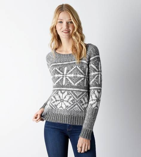 Silver AEO Shimmery Fair Isle Sweater | My Christmas likes ...