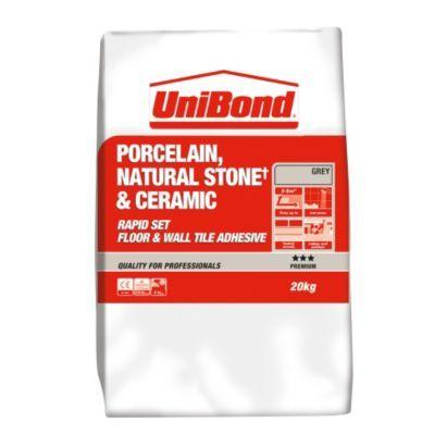 Unibond Rapid Set Flexible Porcelain Floor Tile Adhesive 20kg Grey