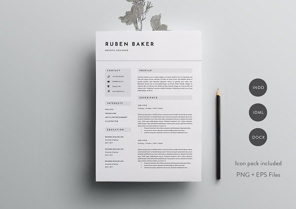 3 Page Resume Template INDD + DOCX Corporate business, Layout - resume template docx