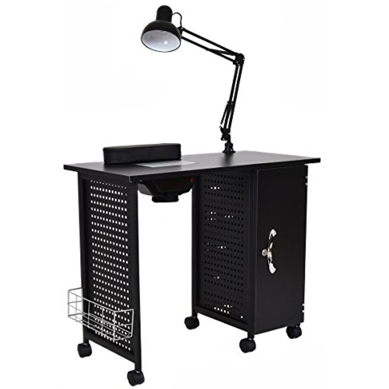 Giantex Manicure Nail Table Station Black Steel Frame Beauty Spa ...