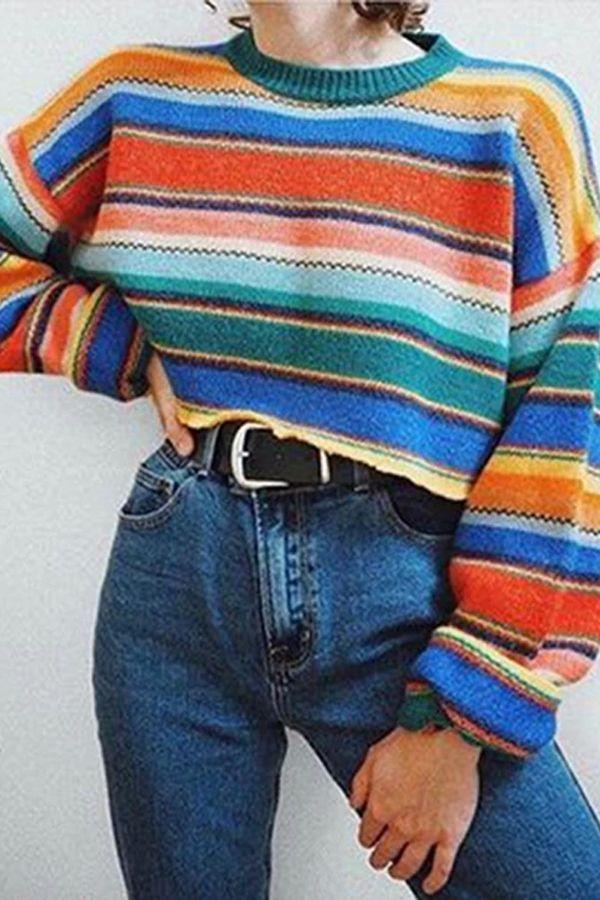 Photo of Women's Fashion Contrast Color Irregular Stripe Sweater